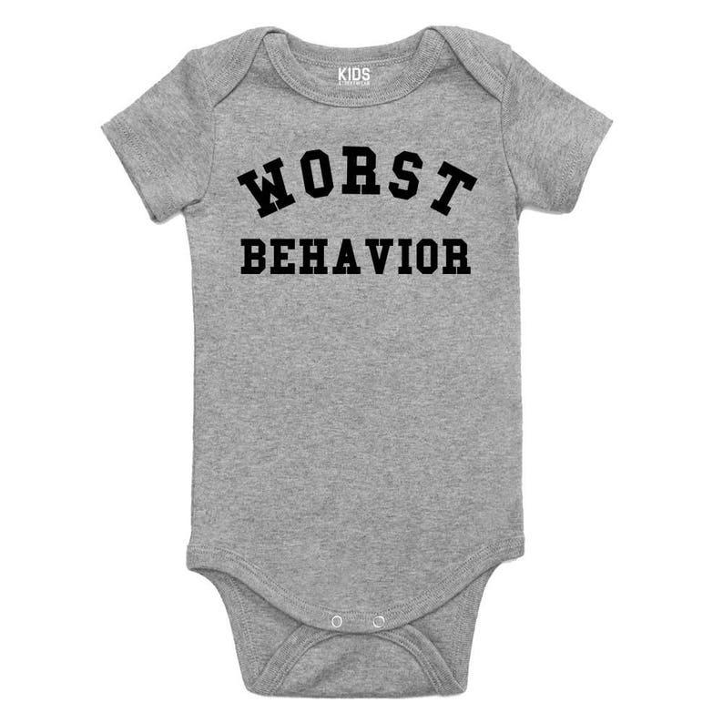 Kids Streetwear Worst Behavior Infant One Piece Snapsuit Bodysuit