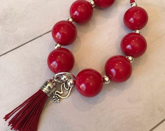 Cherry Soda - Red Chunky Bubblegum Beads with a leather tassel and dove of peace charm