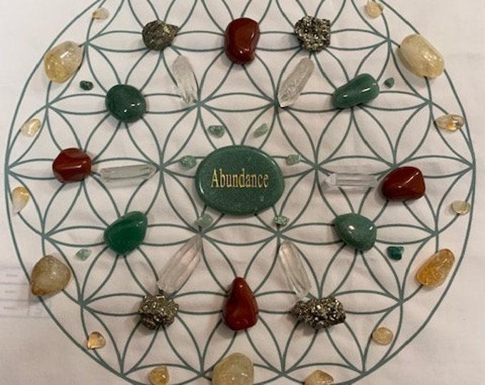 Abundance Grid, Aventurine, Pyrite, Red Jasper, Citrine, Crystals
