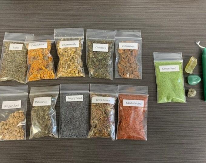 Abundance Herb and Crystal Set, Botanical, Rituals, Spells