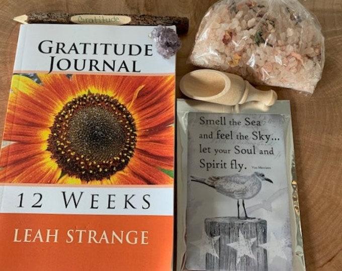 Gratitude Gift Bag, stress relief, journal, bath salts
