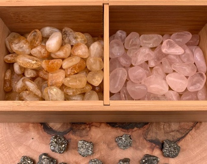 Positive Energy Flow Crystal Kit, Pyrite, Aventurine, Rose Quartz, Clear Quartz, Citrine