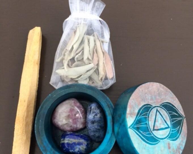Soapstone box, Third Eye Chakra Set