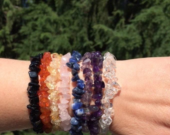 Sets of Gemstone Chip Bracelets, Chakra, Love, Manifestation, Protection, Travel