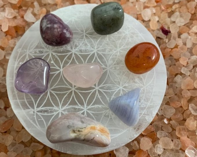 Selenite Charging Plate, Flower of Life, Crystal cleansing, Charging