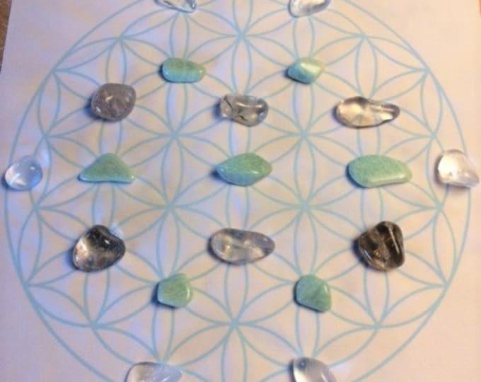 Healing Crystal Grid, 19 Crystals