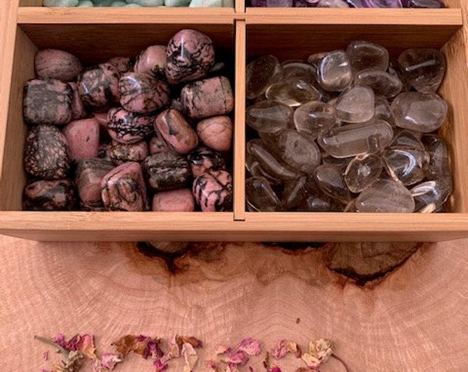 Peace and Harmony Crystal Kit, Amethyst, Rhodonite, Amazonite, Smoky Quartz