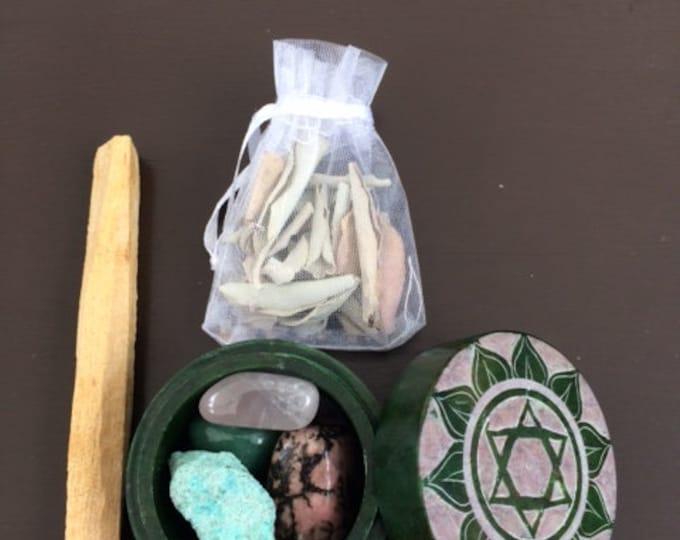 Soapstone Box, Heart Chakra Set
