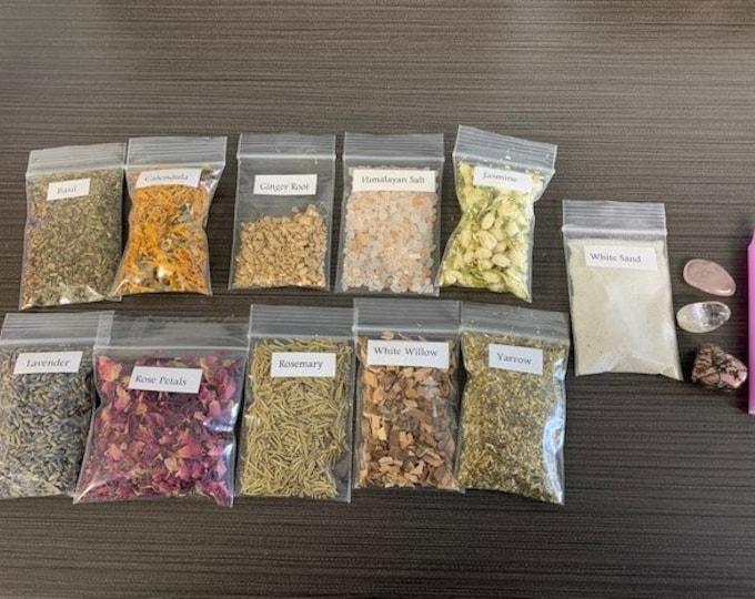 Love Herb and Crystal Set, Botanical, Ritual, Spells