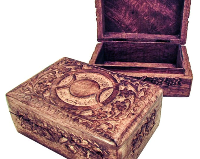 """Carved Wooden Box, 4"""" x6"""","""