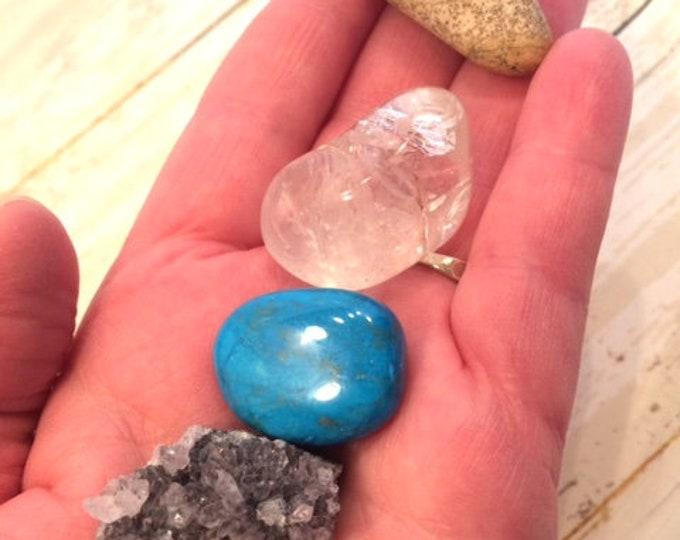Willpower Crystal Kit, Amethyst, Blue Howlite, Clear Quartz, Picture Jasper
