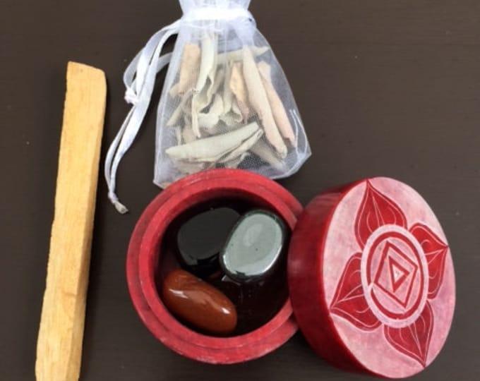 Soapstone box, Root Chakra Set