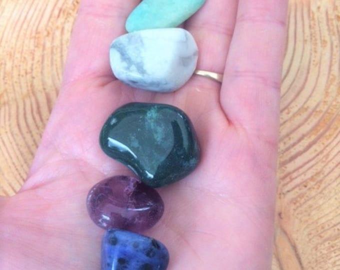 Mindfulness Crystal Kit, Amazonite, Amethyst, Bloodstone, Howlite, Moonstone, Sodalite
