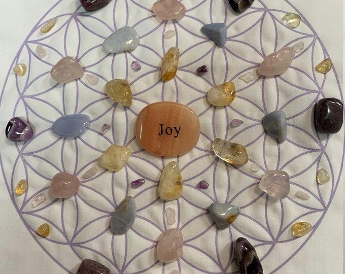 Joy Crystal Grid, Rose, Citrine, Amethyst, Lepidolite, Blue Chaledony