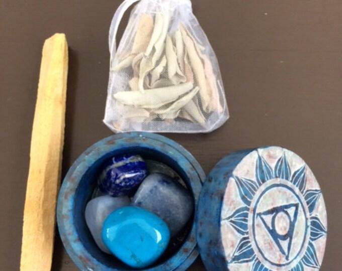 Soapstone Box, Throat Chakra Set