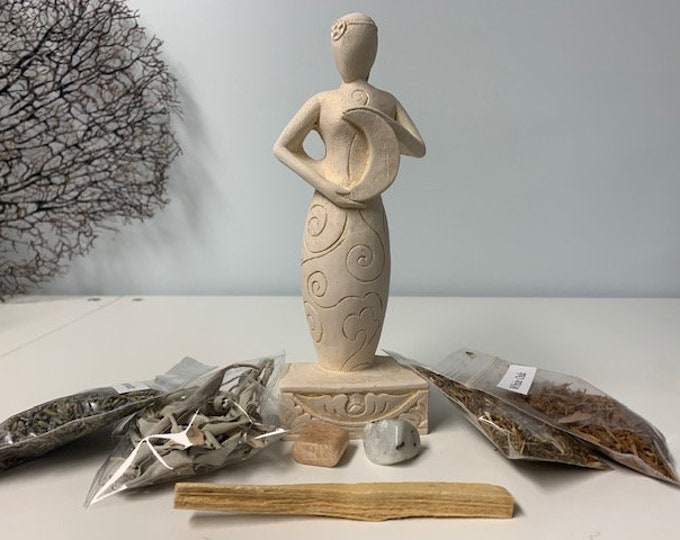 Moon Goddess statue, gypsum, with moonstone and herbs
