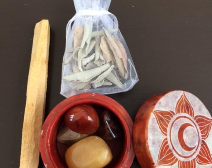 Soapstone Box, Sacral Chakra Set