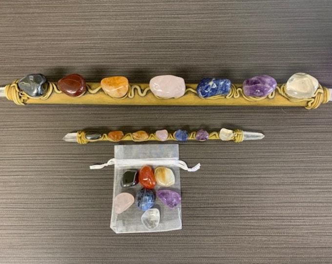 Wand with Crystals, Chakra, Bamboo, Resin, Healing, Reiki