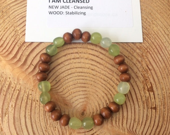 I Am Cleansed Bracelet, New Jade, Wood