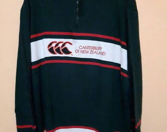 vintage canterbury of new zaeland sweatshirt half zipper embroidery big logo spellout size large