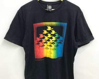 41cd9d5df Vintage 80s M.C Escher tshirt..Graphic artist..Pop Art..Sky and Water 1  design art..Made in Japan