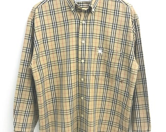 fc9bfeebfacb Vintage Burberrys Nova Check Button Ups Shirt..Size L..Made in England