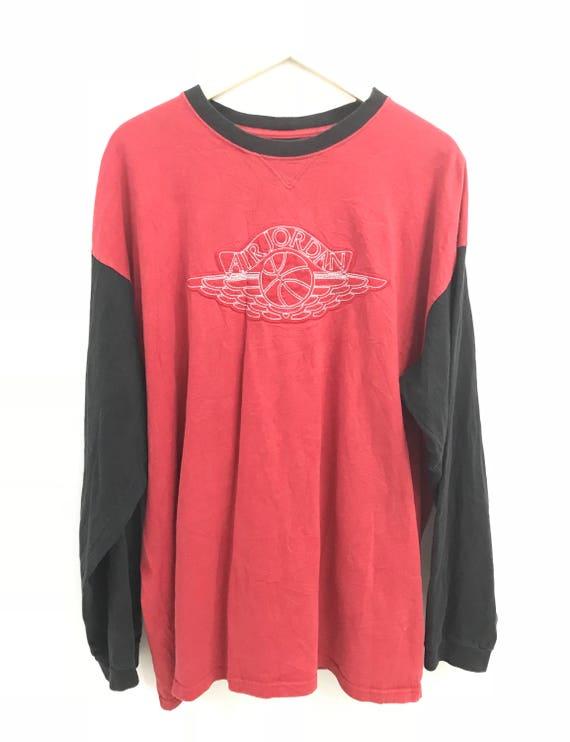 T shirt à manches longues de Vintage Nike Air Jordan Gros Logo Taille XXL