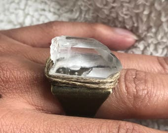 Raw Natural Clear Quartz Crystal Ring, Gemstone Ring, Statement Ring