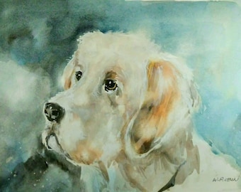 Waiting. Dog Portrait. Original Watercolor Painting