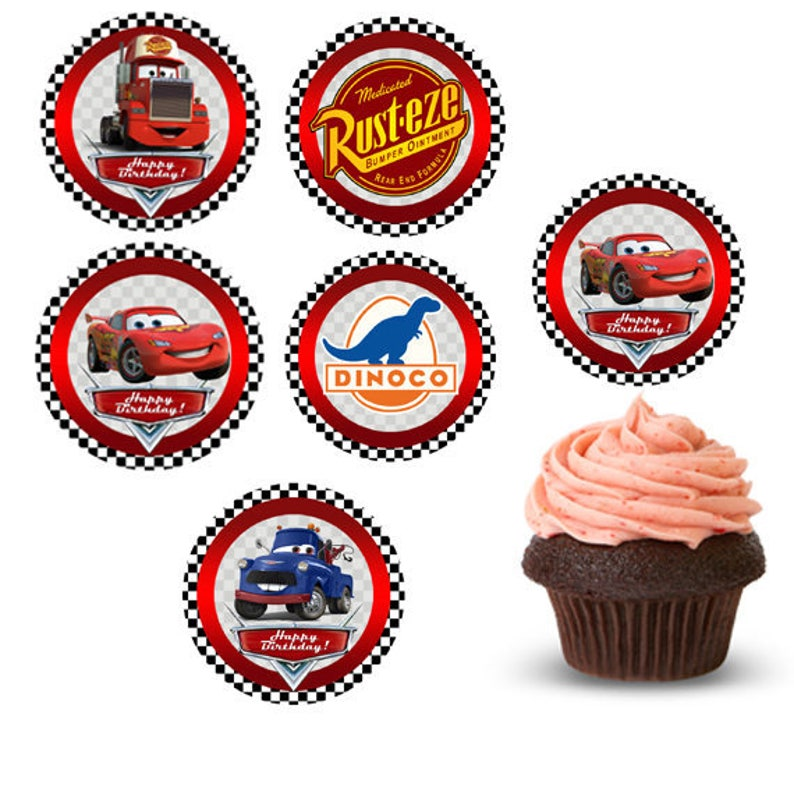 Cars Cupcake topper Lightning McQueen Cars Party Cars | Etsy