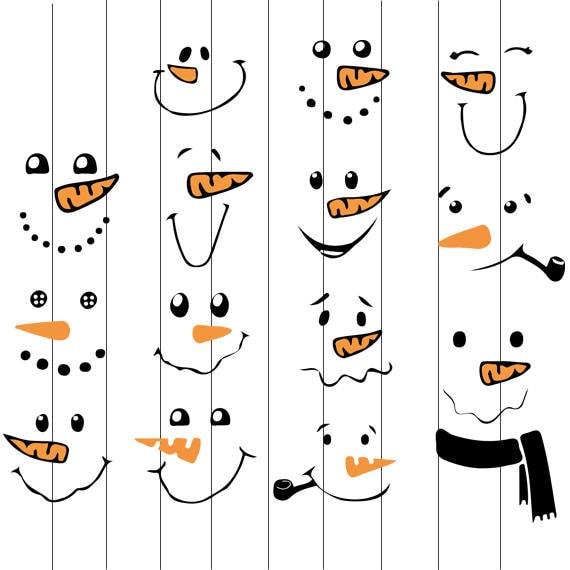 Instant Download Snowman Svg Snowman Face Clipart Snowman Etsy