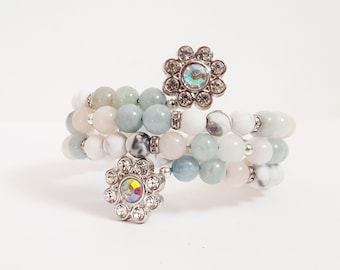 Morganite and Matte white howlite beaded wrap bracelet with rhinestone flowers, memory wire gemstone cuff bracelet