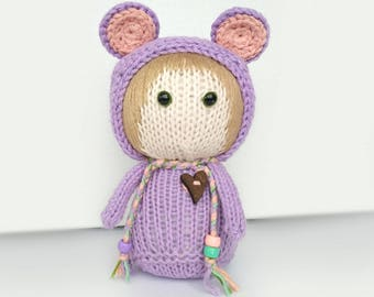 "Knitted toy ""Lilac Mouse"""