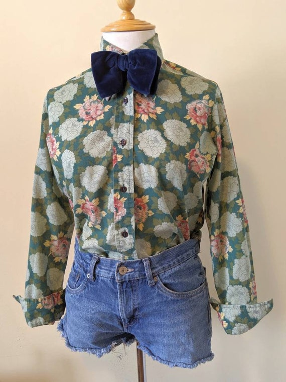 70s Floral Button Up SM/XS - image 2