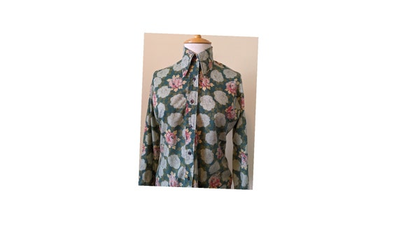 70s Floral Button Up SM/XS