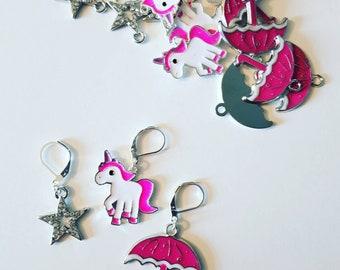 Stitch marker, crochet stitch marker, knitting stitch marker, umbrella, unicorn, star.