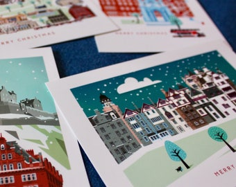 Edinburgh christmas card scottish winter greetings card etsy edinburgh christmas postcards pack of 4 scottish cards hogmanay scottish travel scotland greetings party invitations m4hsunfo