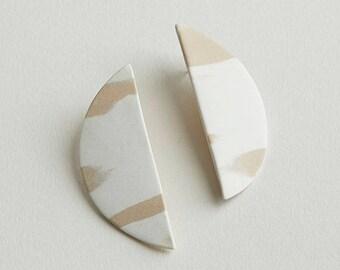 Two Tone Half Circle Earrings