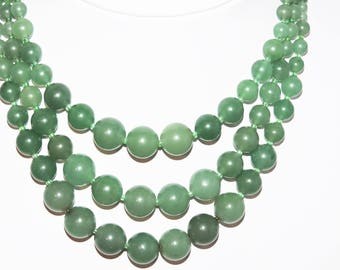 Vintage JADE Necklace Triple Strand 94 Grams Jadeite NECKLACE
