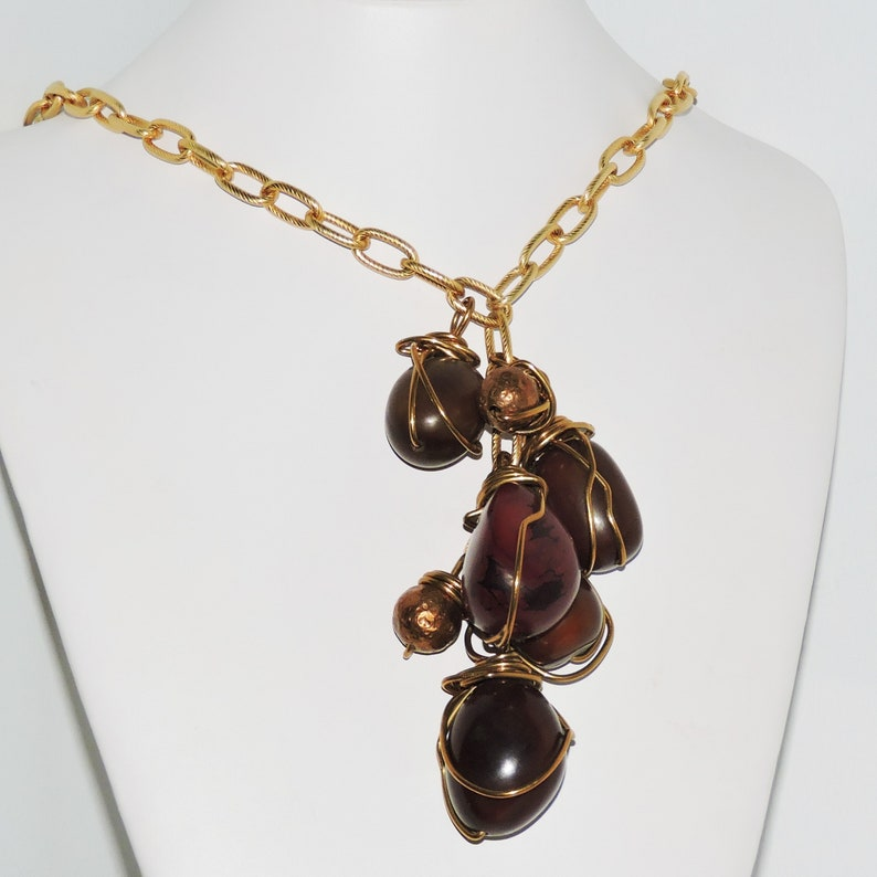 Statement Necklace Lavalier Caged Tagua Nuts Hammered Copper Gold Chain  Necklace
