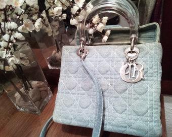 3de5f920c9 W/CERTIFICATE Lady Dior handbag denim vintage / shouder bag