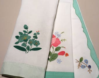 Three Vintage Linen/Cotton Tray Cloths/Hand Towels