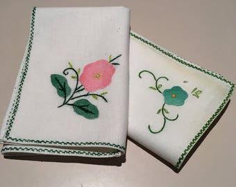 Two Mismatched Vintage Napkins