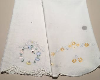Two Vintage Hand Embroidered Hand Towels