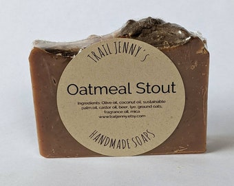 Oatmeal Stout Handmade Soap Bar   Beer Soap   Vegan Cold Process Soap with Beer