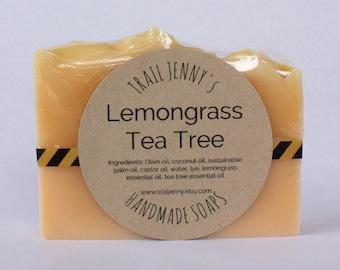 Lemongrass Tea Tree Handmade Soap Bar - 100% Natural, Vegan Cold Process Soap with Essential Oils