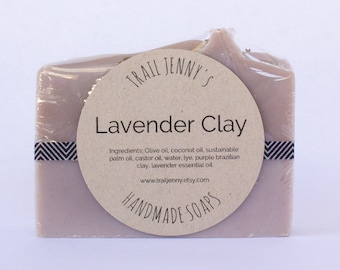 Lavender Clay Handmade Soap Bar - 100% Natural, Vegan Cold Process Soap with Lavender essential oil and natural clay