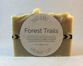 Forest Trails Handmade Soap Bar - 100% Natural, Vegan Cold Process Soap with essential oils