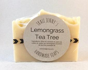 SOAP Lemongrass Tea Tree Handmade Soap Bar - Cold Process Soap - Artisan Soap - Vegan Soap - Homemade Soap - Natural Skin Care Gift for Her