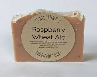 Raspberry Wheat Ale Handmade Soap Bar   Beer Soap   Vegan Cold Process Soap with Beer